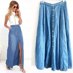 Vintage Denim Button Front Maxi Skirt